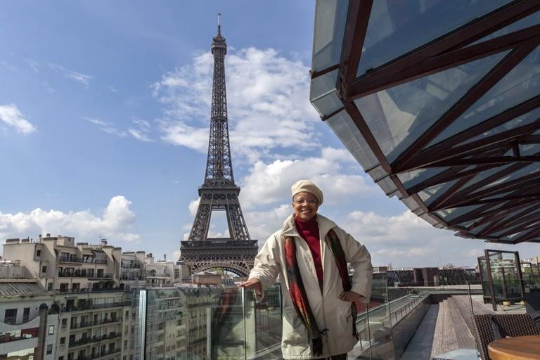 Monique Wells at terrace of Les Ombres