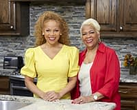 Donna Richardson and Mama LaVerne in the kitchen