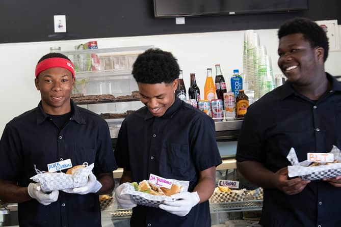 Student workers at Corners Cafe in East Oakland, CA