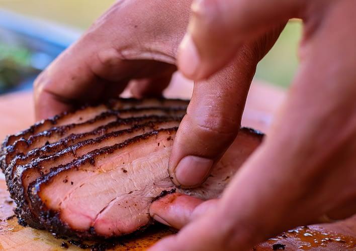 Distant Relatives sliced pork belly